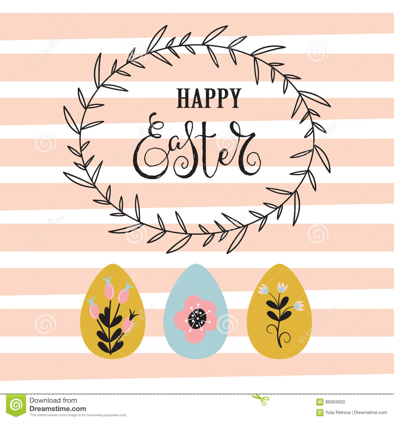 Easter background with frame and eggs.