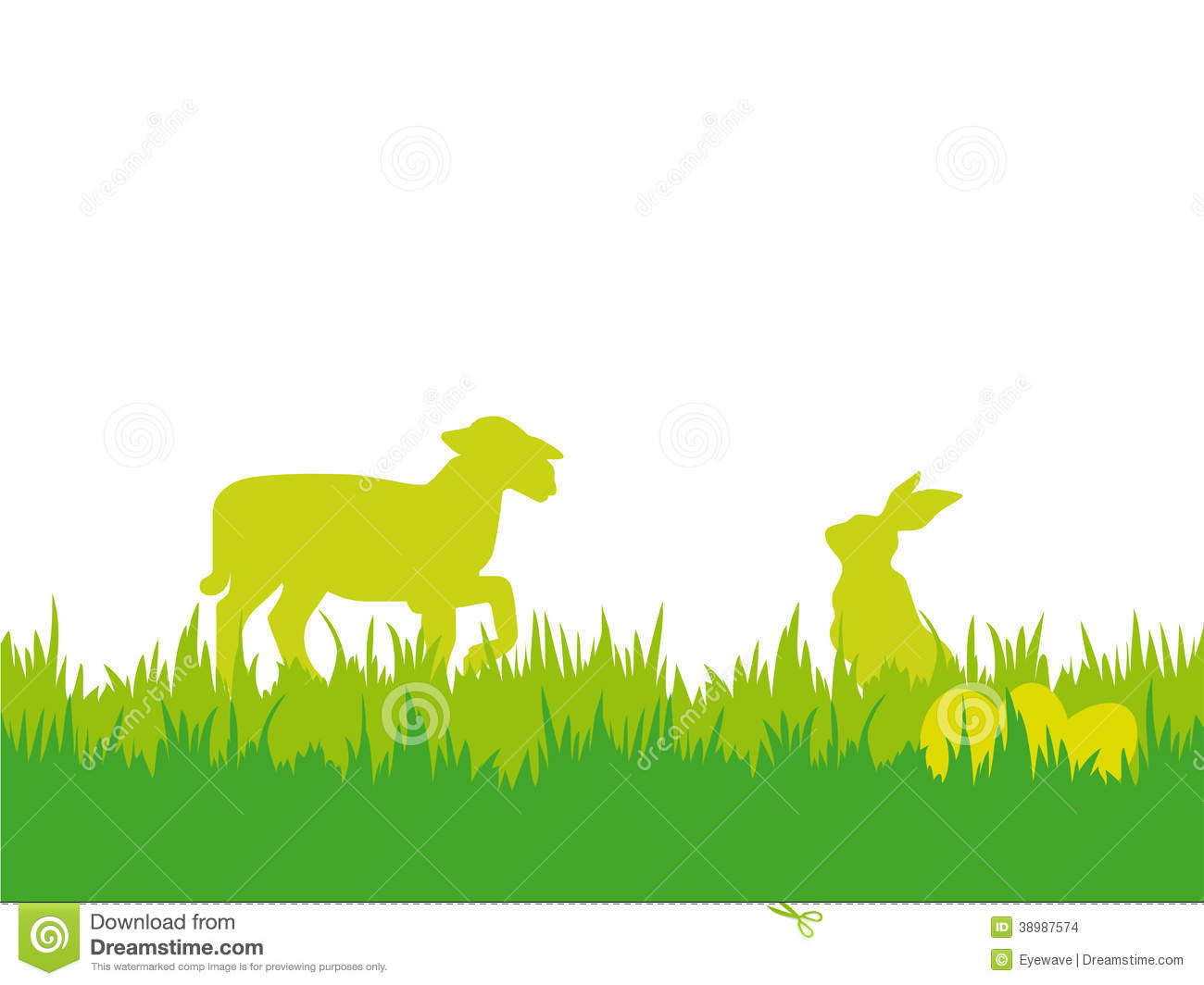 Easter Background With Lamb, Eggs And Butterflies Stock