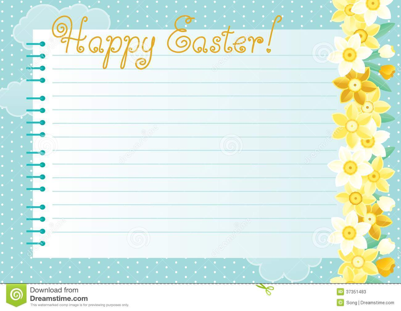 Many spring flowers page and text Happy Easter  of spiral exercise gPHJWouO