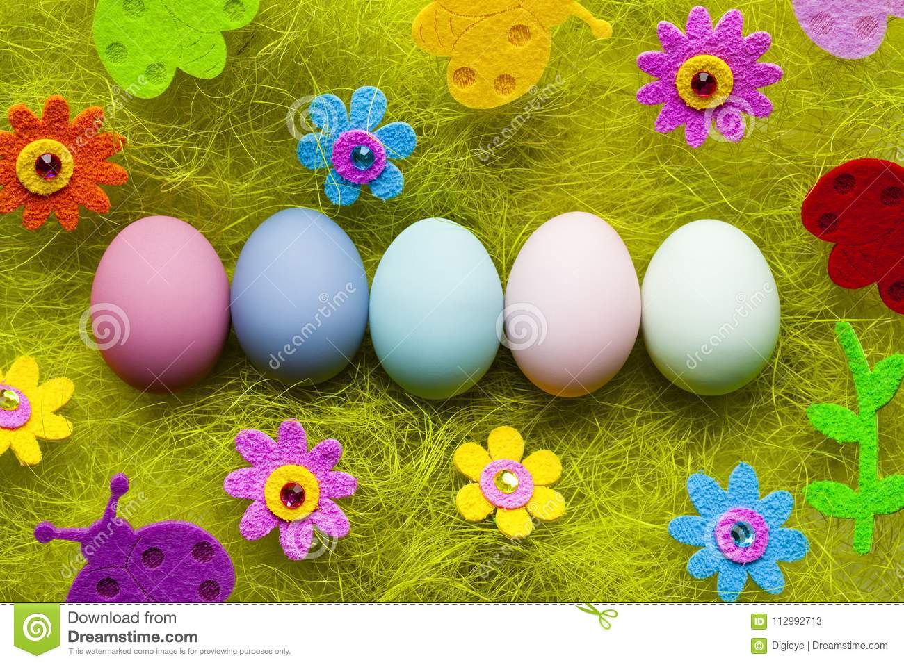 Easter background - painted eggs and colorful decorations