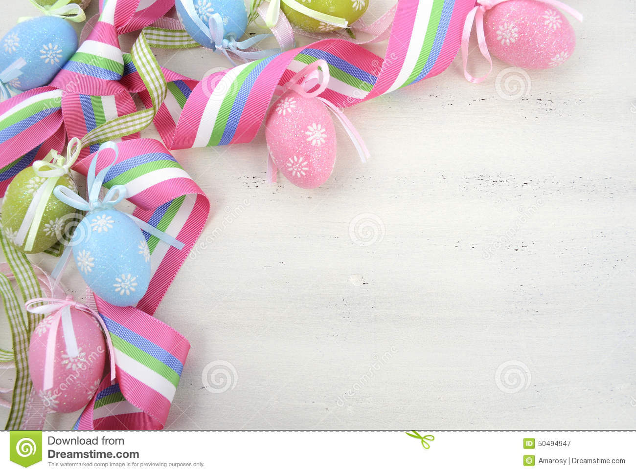 Easter Background With Pink Blue And Green Ornament Eggs