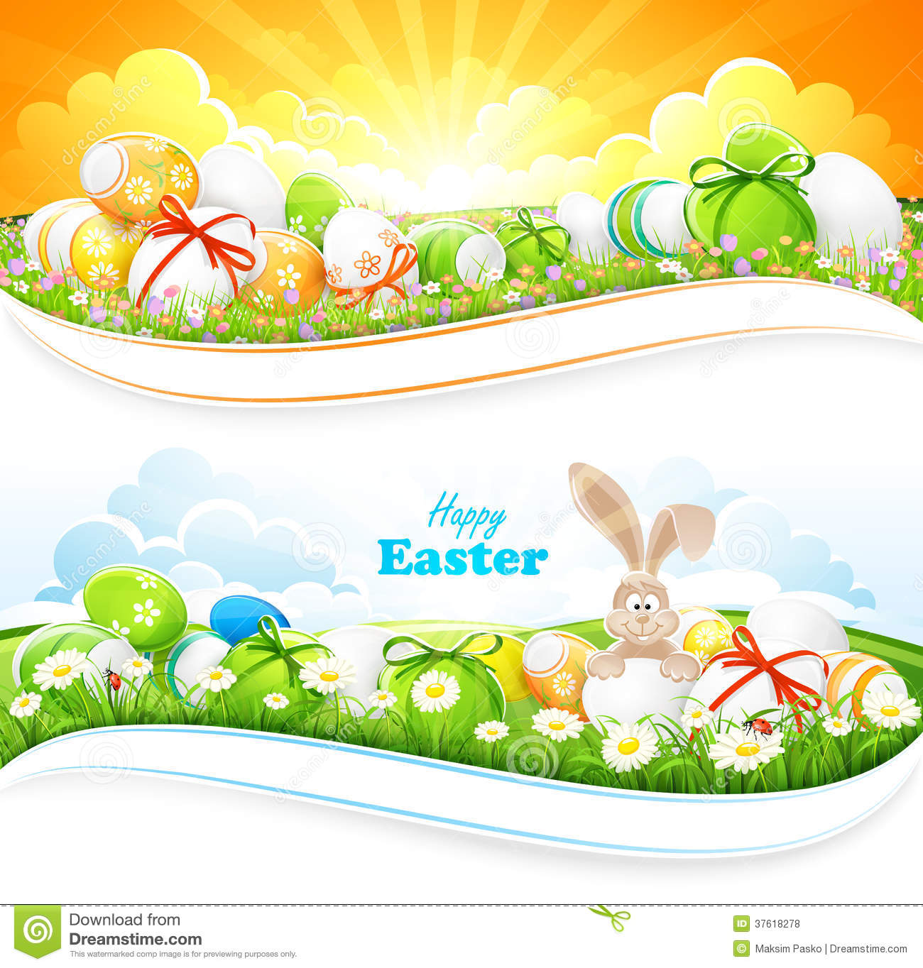 Easter background with green grass, flowers and eggs. Vector ...