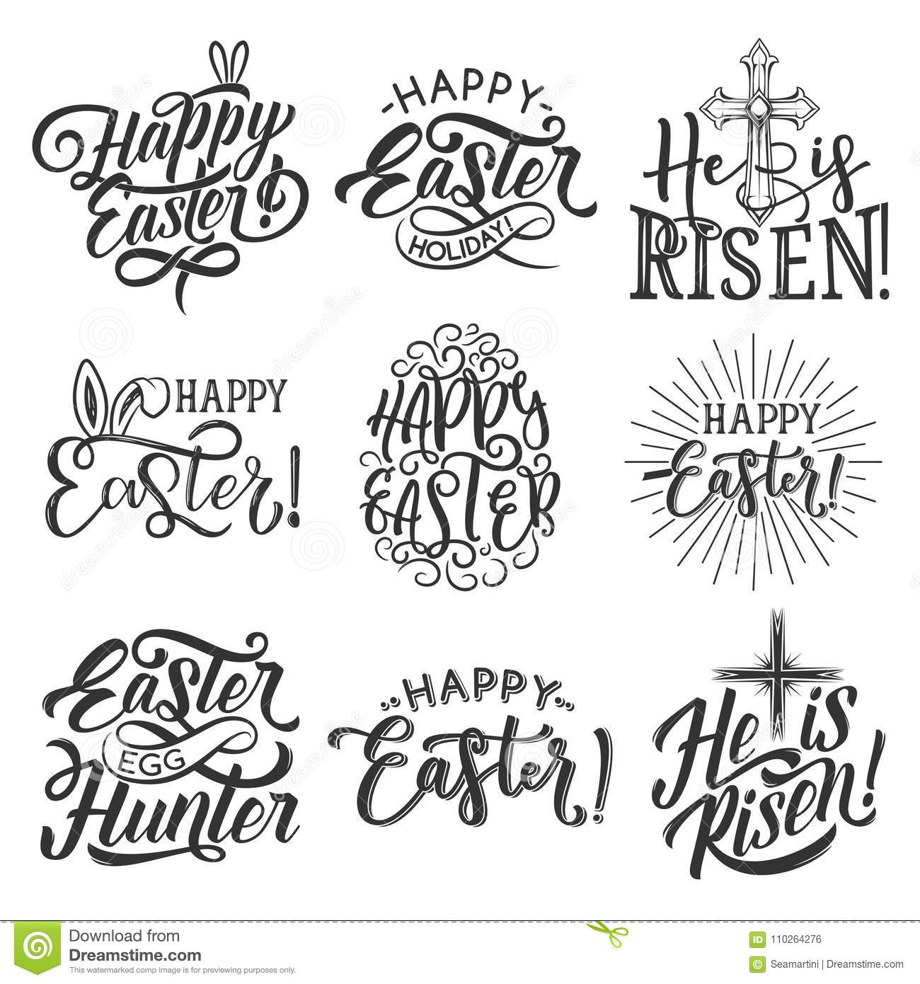 Easter Holiday Badge Of Egg, Rabbit Ear And Cross Stock Vector ...