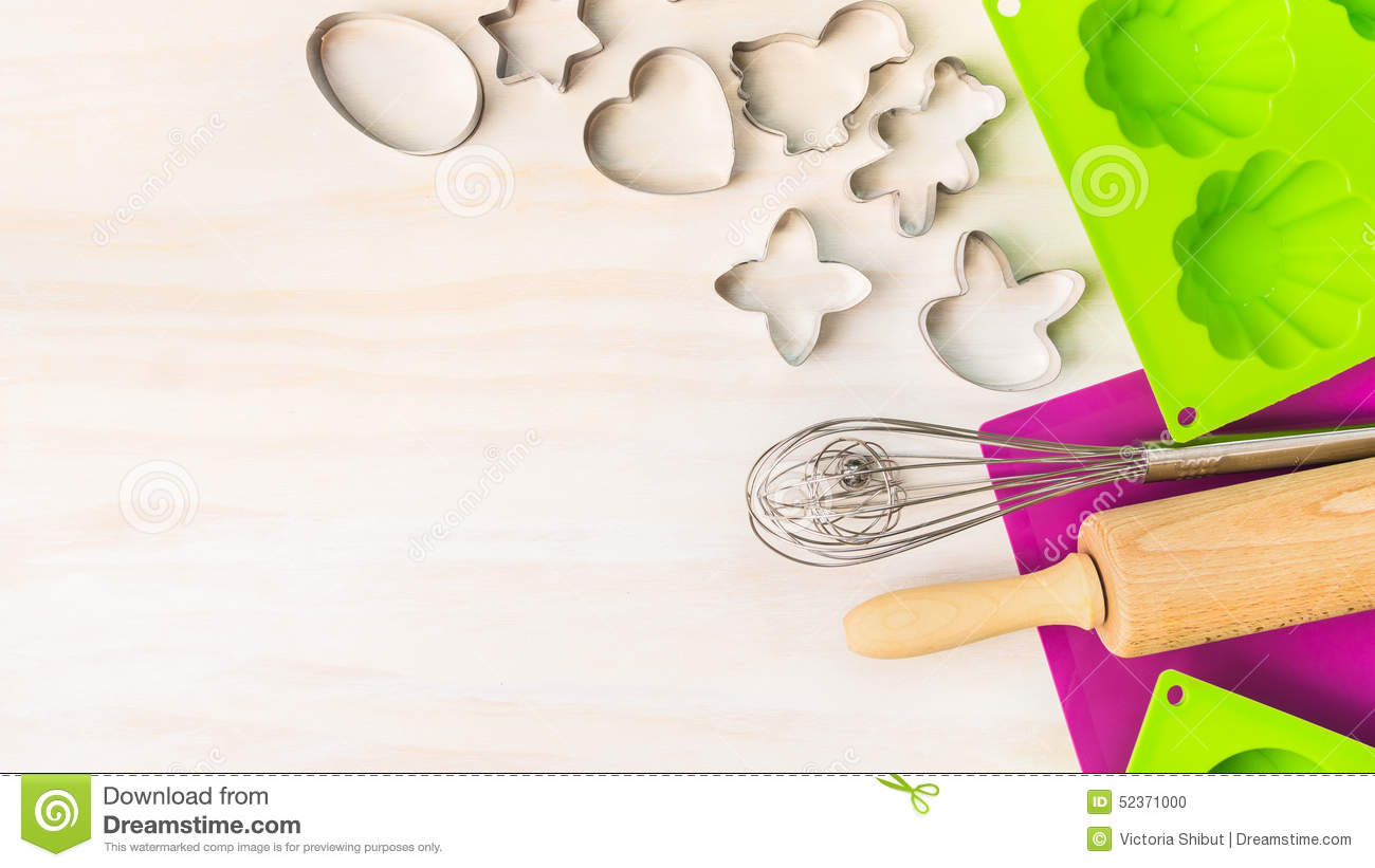 fun cookie bake flyer template stock vector image 48140597 easter bake tools cookie cutter cake mould for muffin and cupcake on white wooden