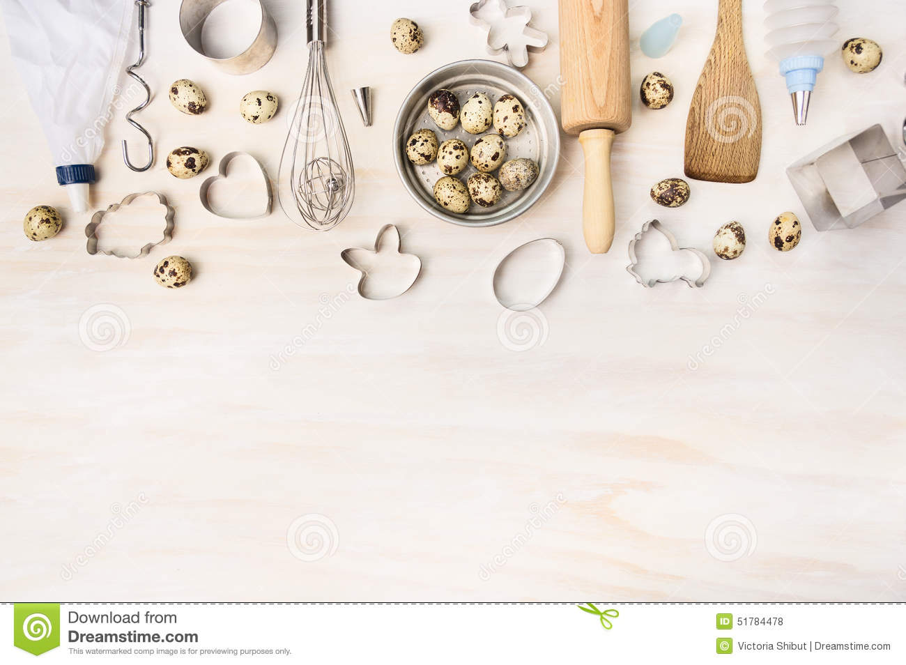 Easter bake tools with quail eggs and biscuit cutter on for Home ingredients design