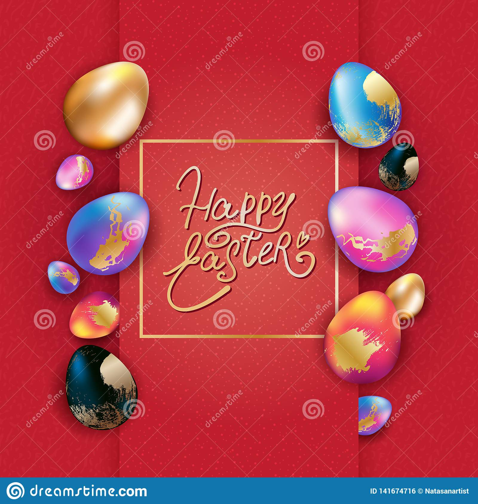 Easter banner design with colorful eggs