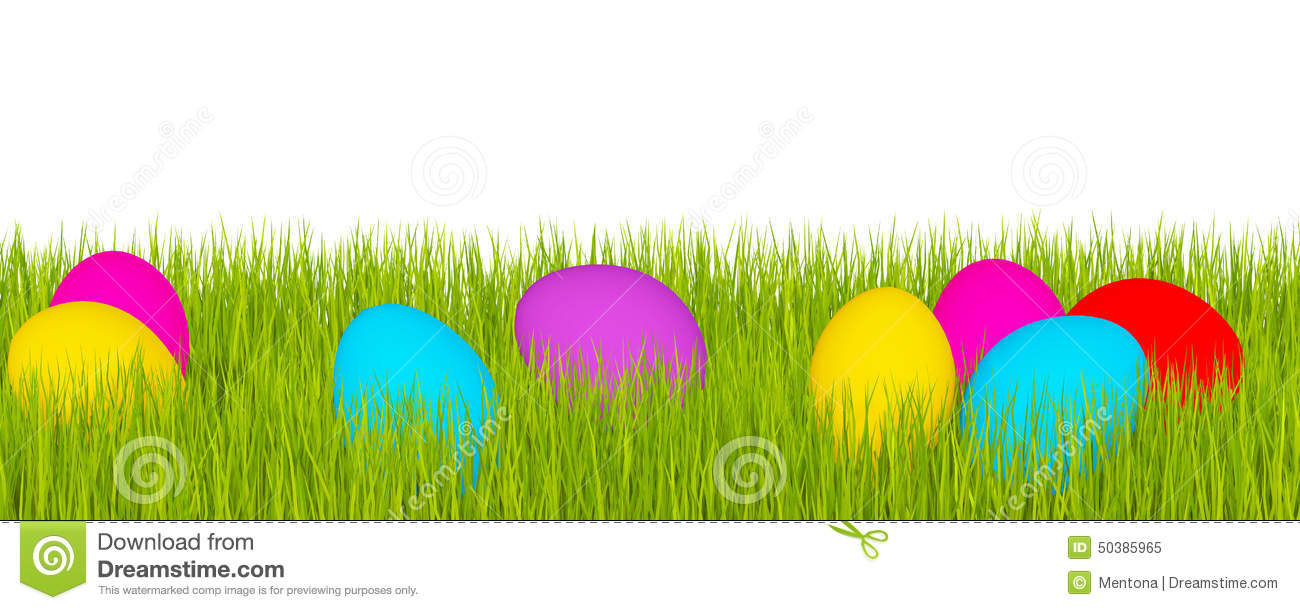Easter Banner, Green Grass And Easter Eggs Stock