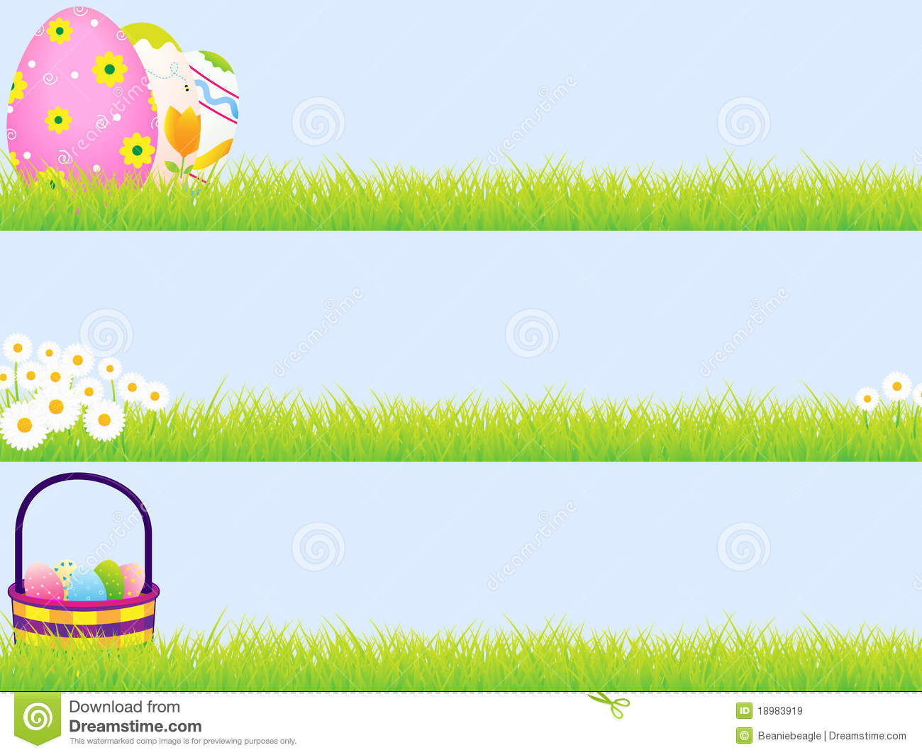 set of three Easter banners. Clipping masks used and blue ...