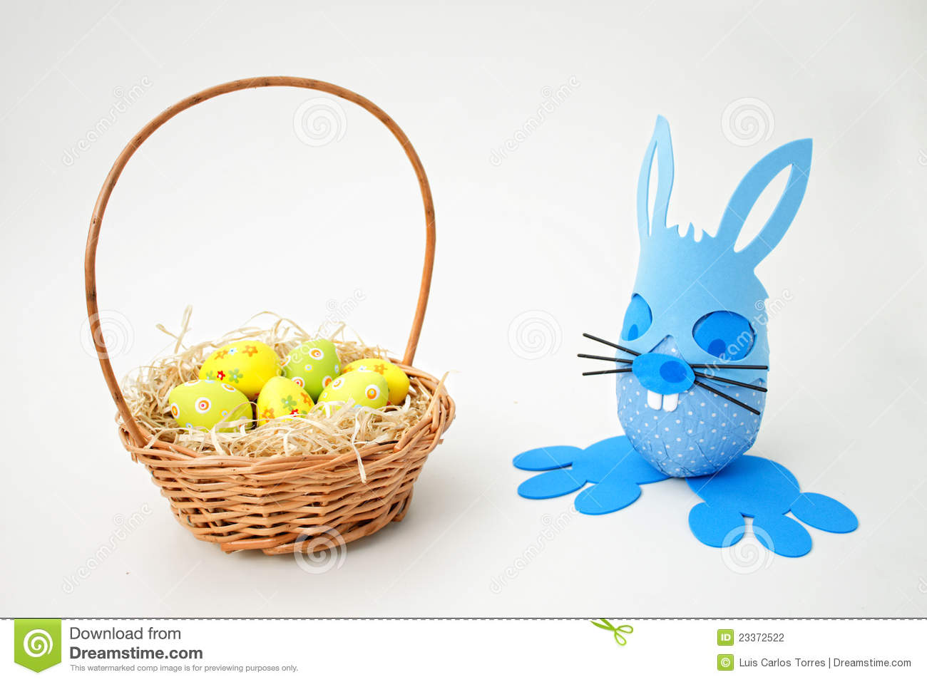 Easter basket and blue bunny