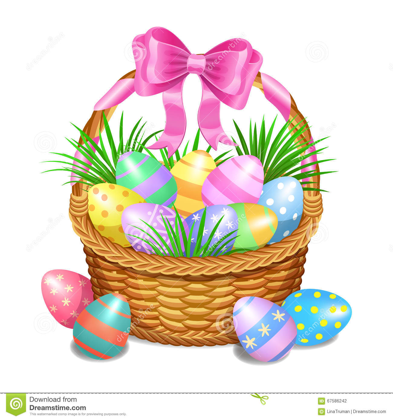 Easter Basket With Color Painted Eggs On White