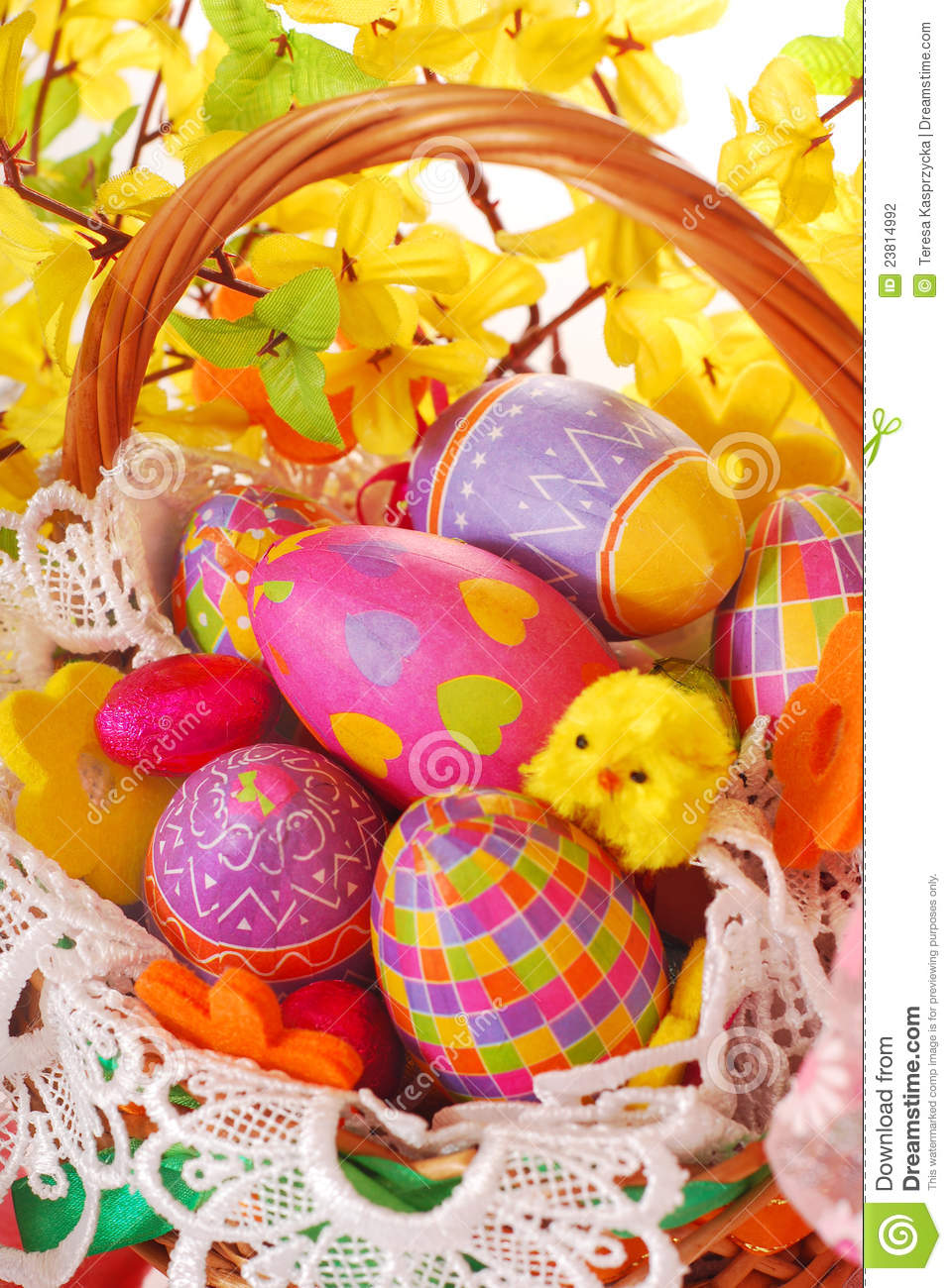 Easter Basket With Colorful Eggs Stock Photography Image