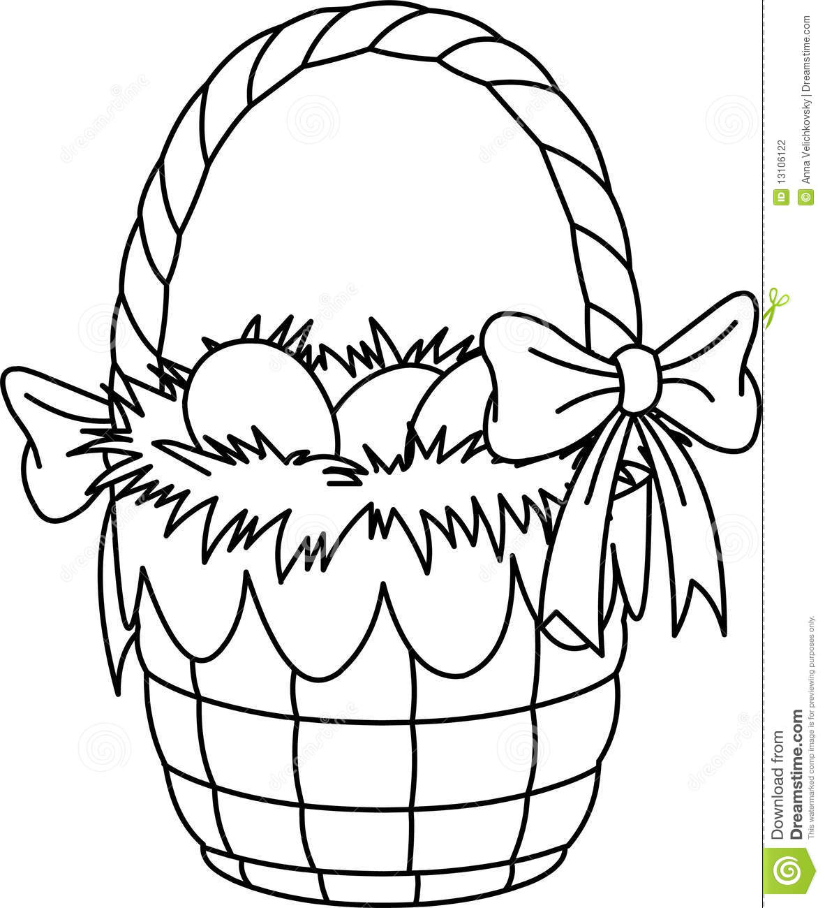 Easter Basket Coloring Page Stock Illustration - Illustration of ...