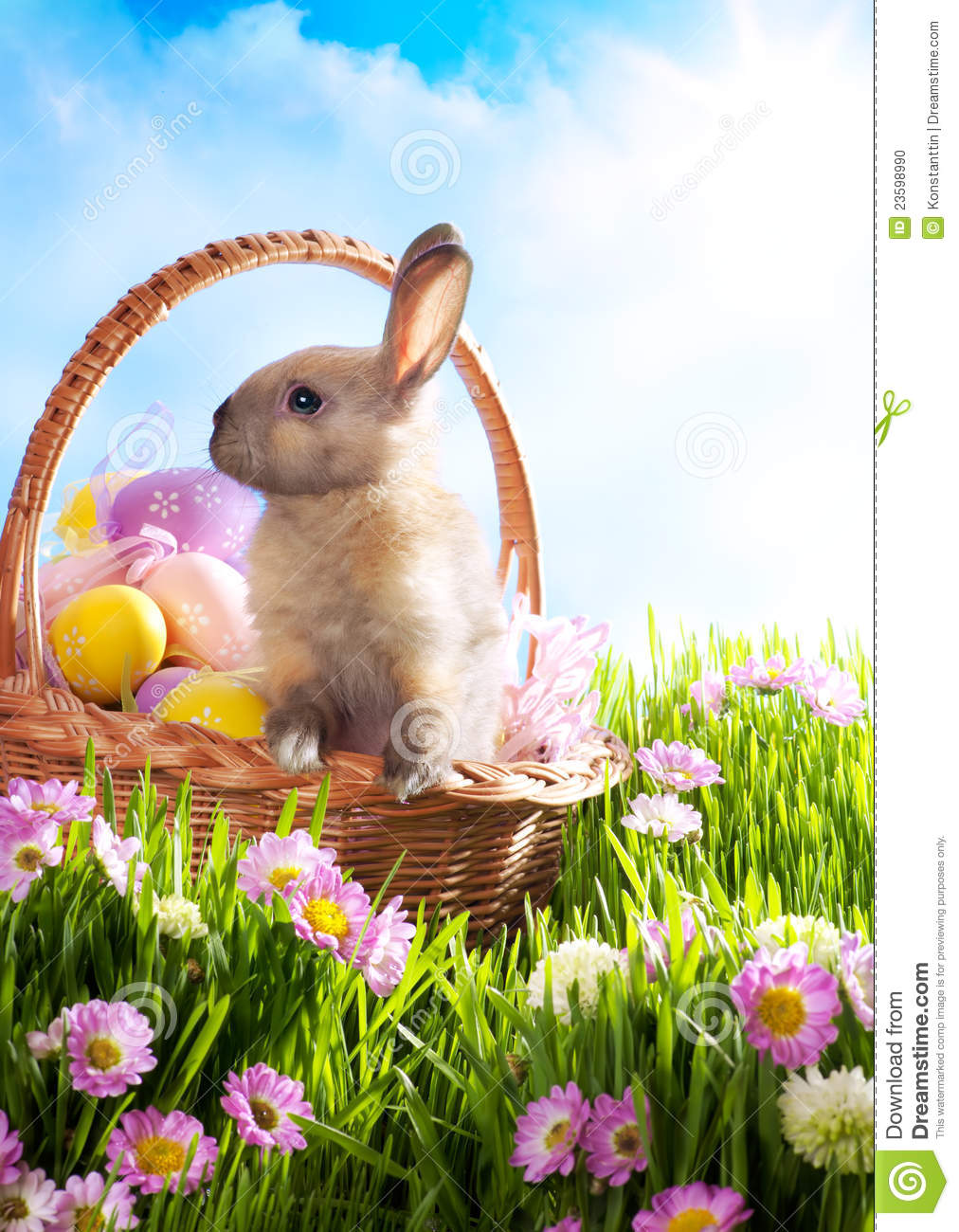 easter basket decorated eggs and easter bunny stock photo image