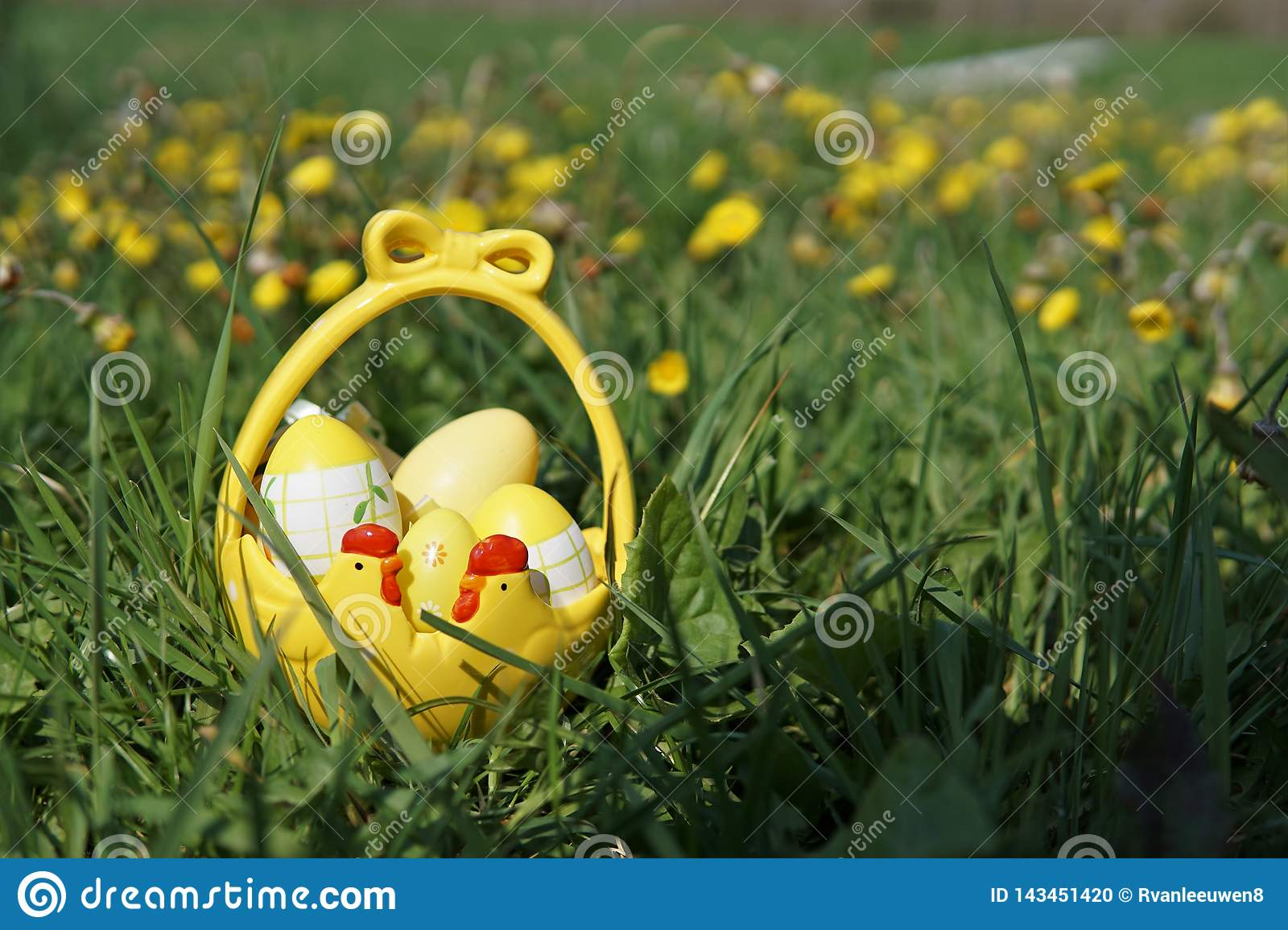 Easter Basket with Eggs in Grass