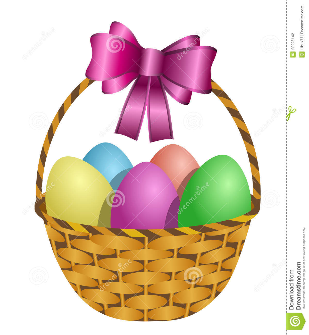 Easter basket filled with colored eggs stock vector illustration easter basket filled with colored eggs negle Image collections