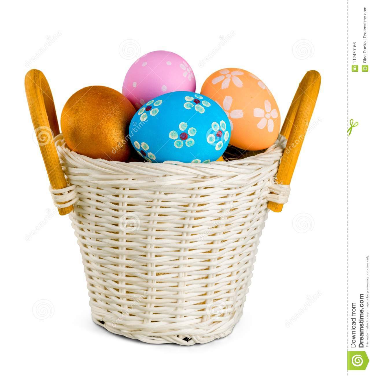 Easter basket filled with colorful eggs on a white