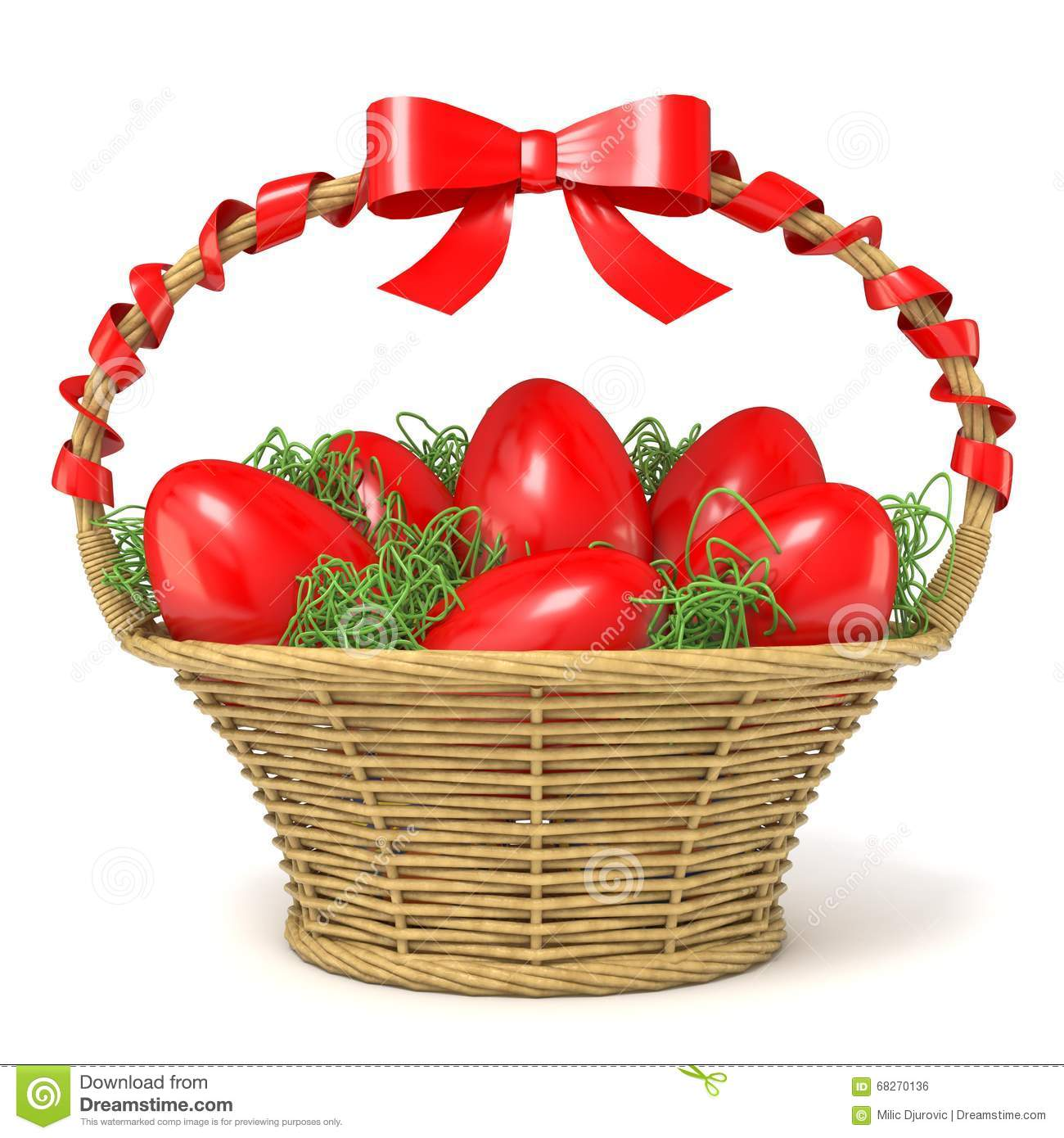 Easter basket full of red eggs with red ribbon bow 3d stock easter basket full of red eggs with red ribbon bow 3d royalty free illustration negle Image collections