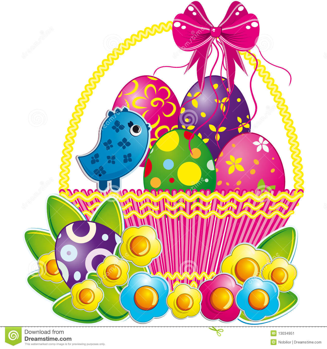 Easter Basket With Pink Bow And A Cute Chicken Stock Image Image 13034951