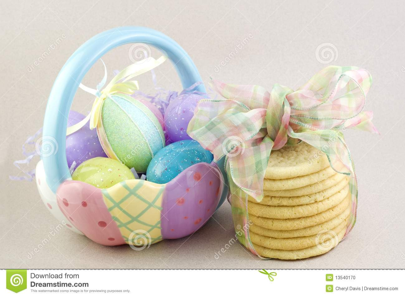 Easter Basket With Sugar Cookies Stock Photo - Image of ...