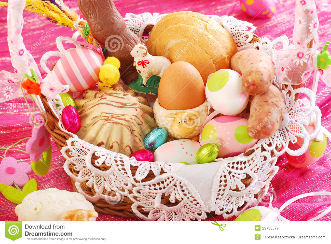 Easter Basket With Traditional Food And Decorations