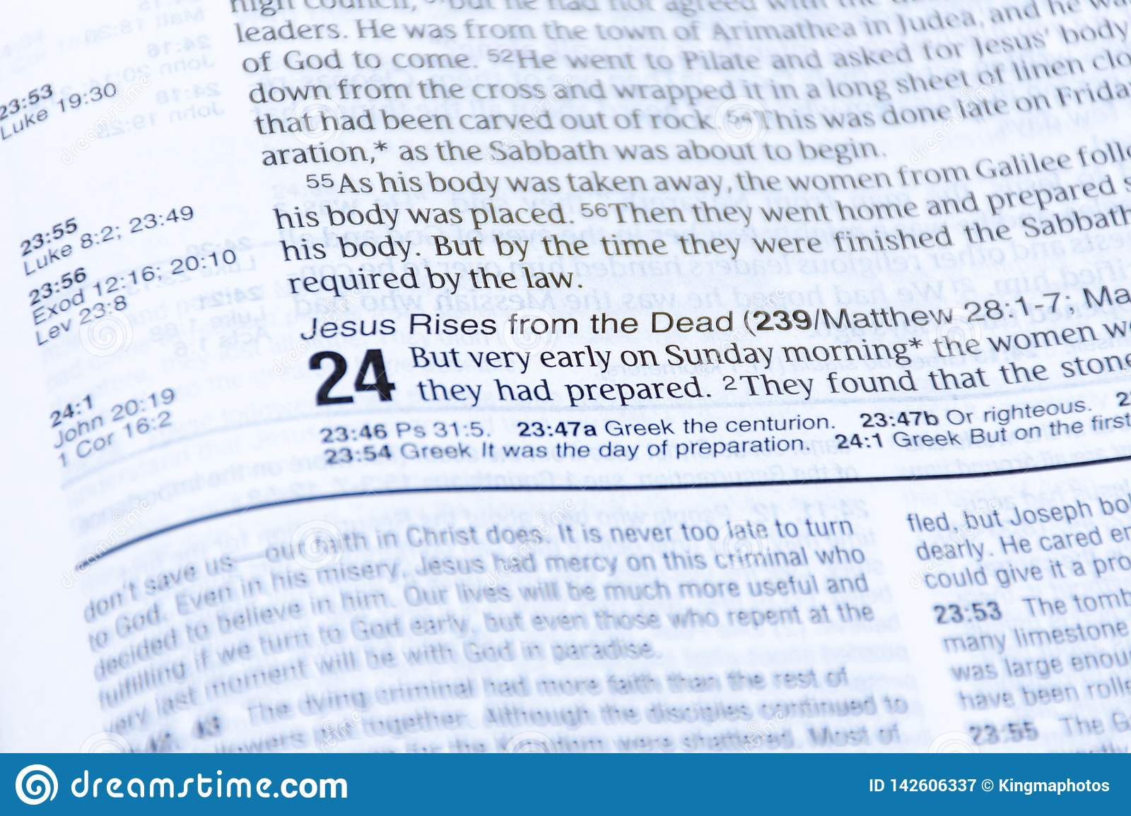 Easter Bible reading of the good news of the resurrection of Jesus Christ from the dead. Luke chapter 24