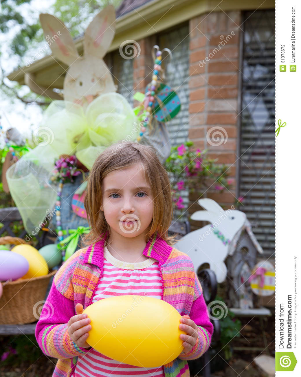 Easter Blond Girl Holding Big Egg And Bunny Stock ...