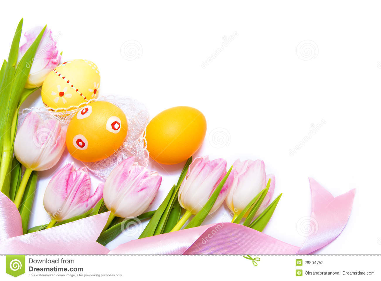 Easter border made of painted Easter eggs, pink tulips and silk ribbon ...
