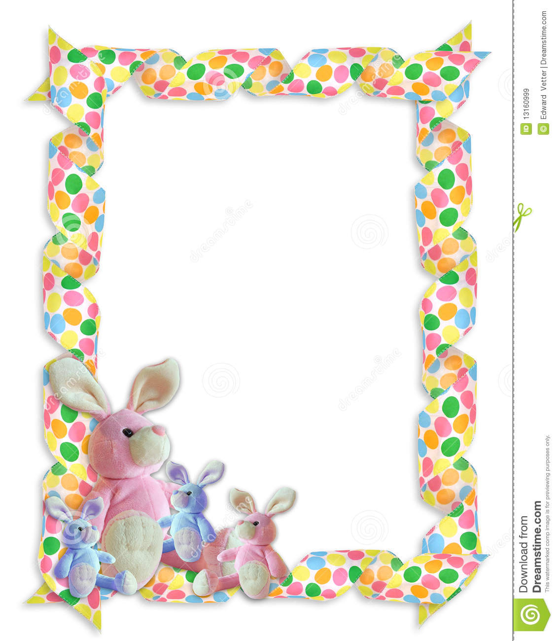 Easter Border Ribbons Bunnies Royalty Free Stock Images
