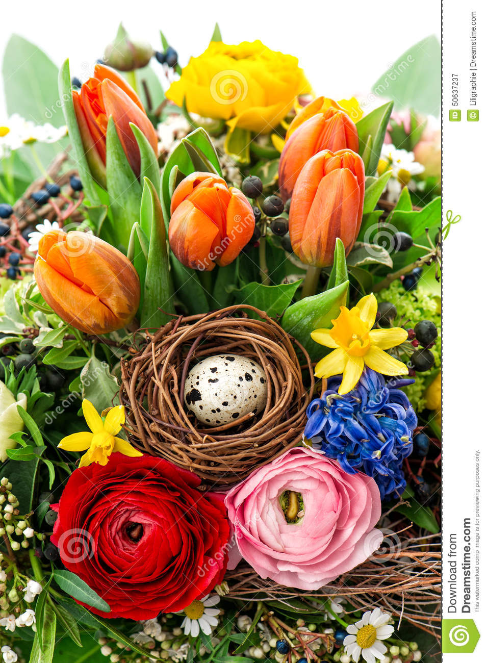 Easter Bouquet With Egg Decoration Spring Flowers Tulip Ranunculus Hyacinth Stock Image Image Of Beautiful Gerber 50637237