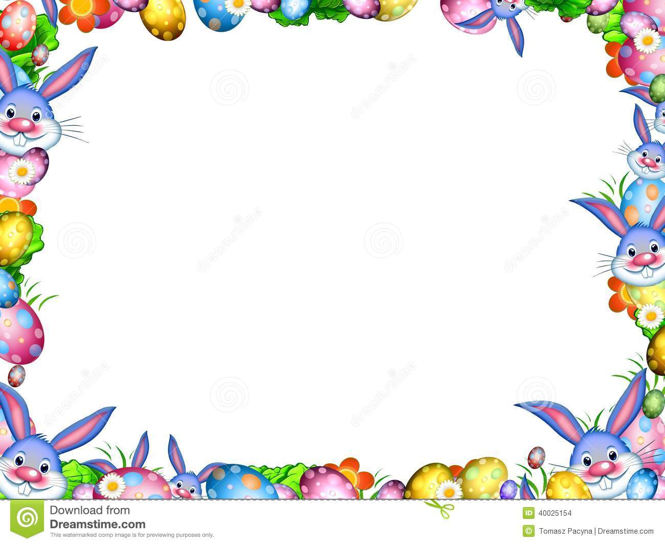 Easter Bunnies With Colorful Eggs And Flowers Border Frame Stock ...