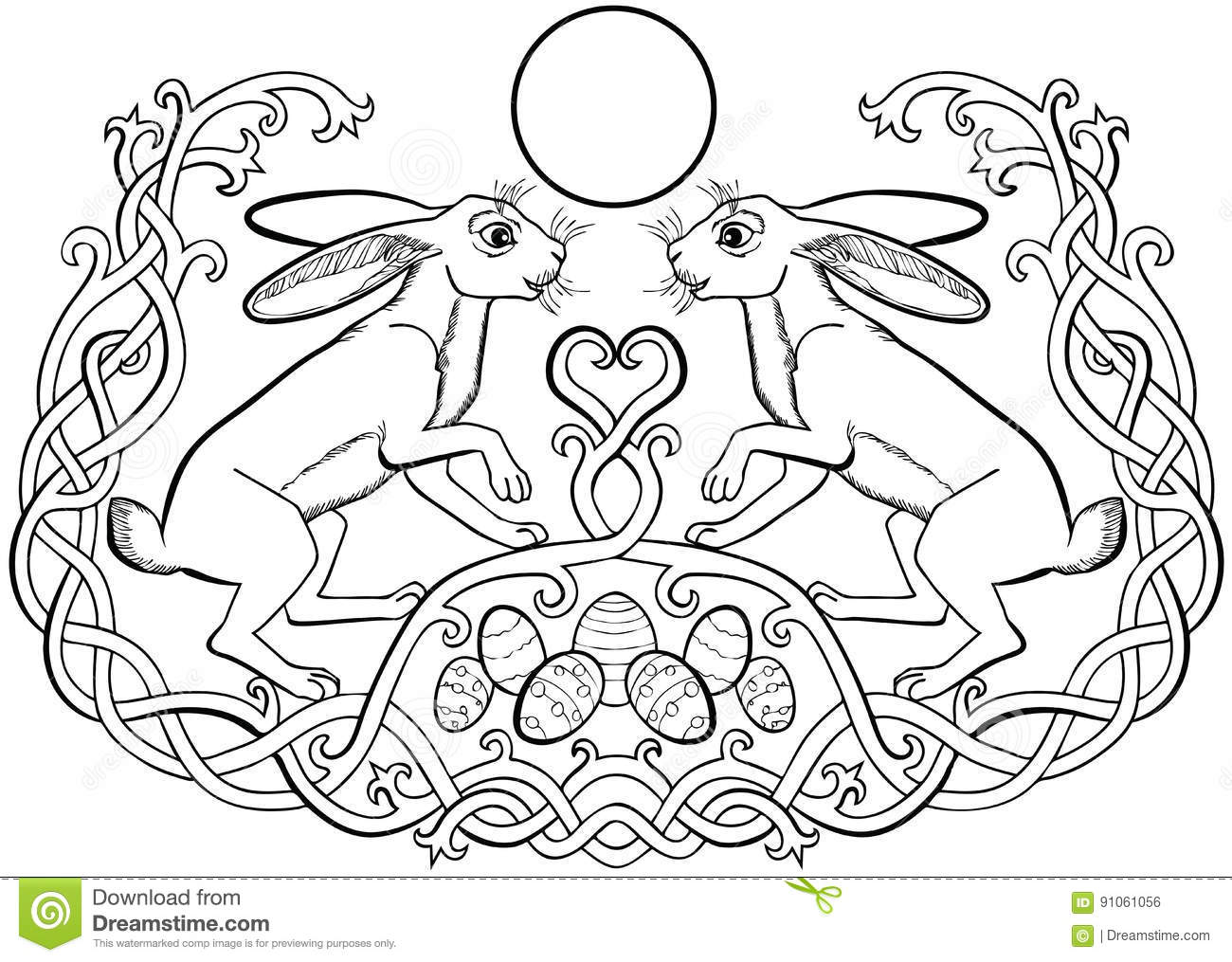 Easter Bunnies Pair And Eggs Celtic Ornaments Stock Vector