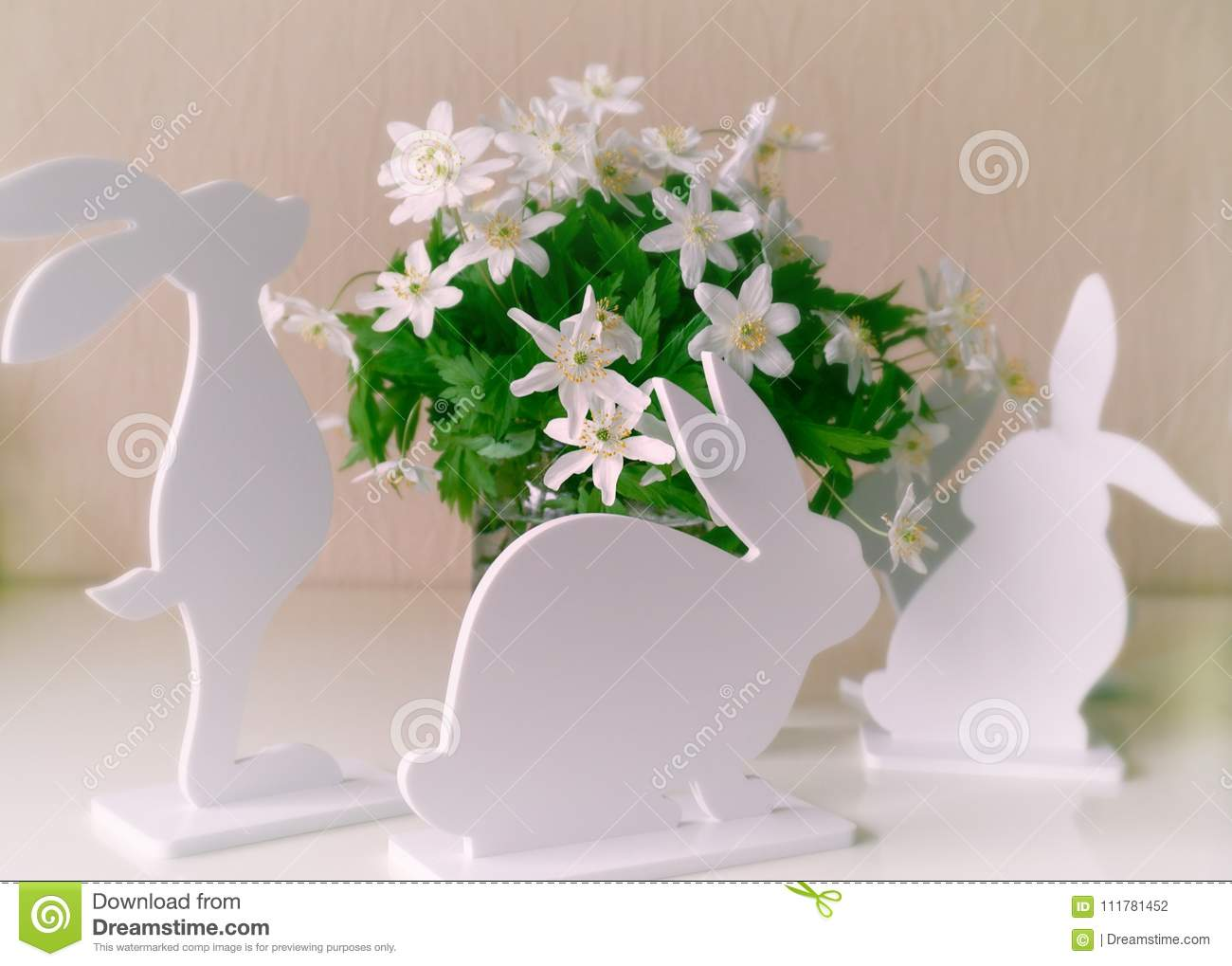 Easter bunnies with spring flowers stock photo image of download easter bunnies with spring flowers stock photo image of decorations flowers 111781452 mightylinksfo