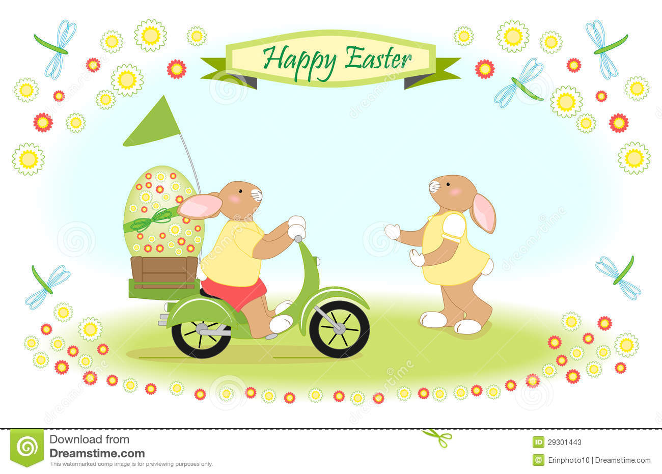 Easter Bunny As Scooter Delivery Of Big Egg