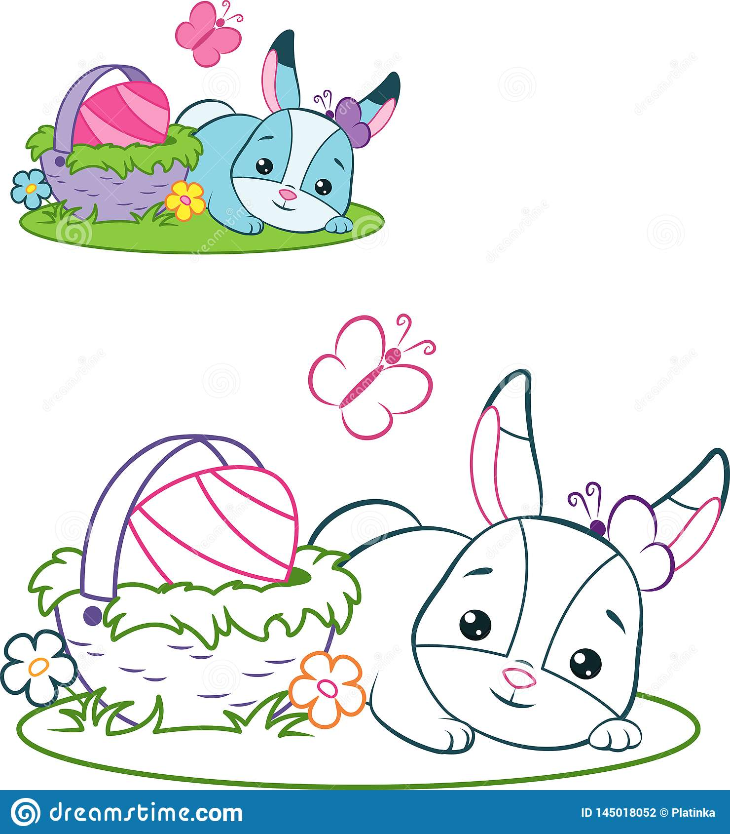 Easter bunny with basket coloring page stock vector illustration