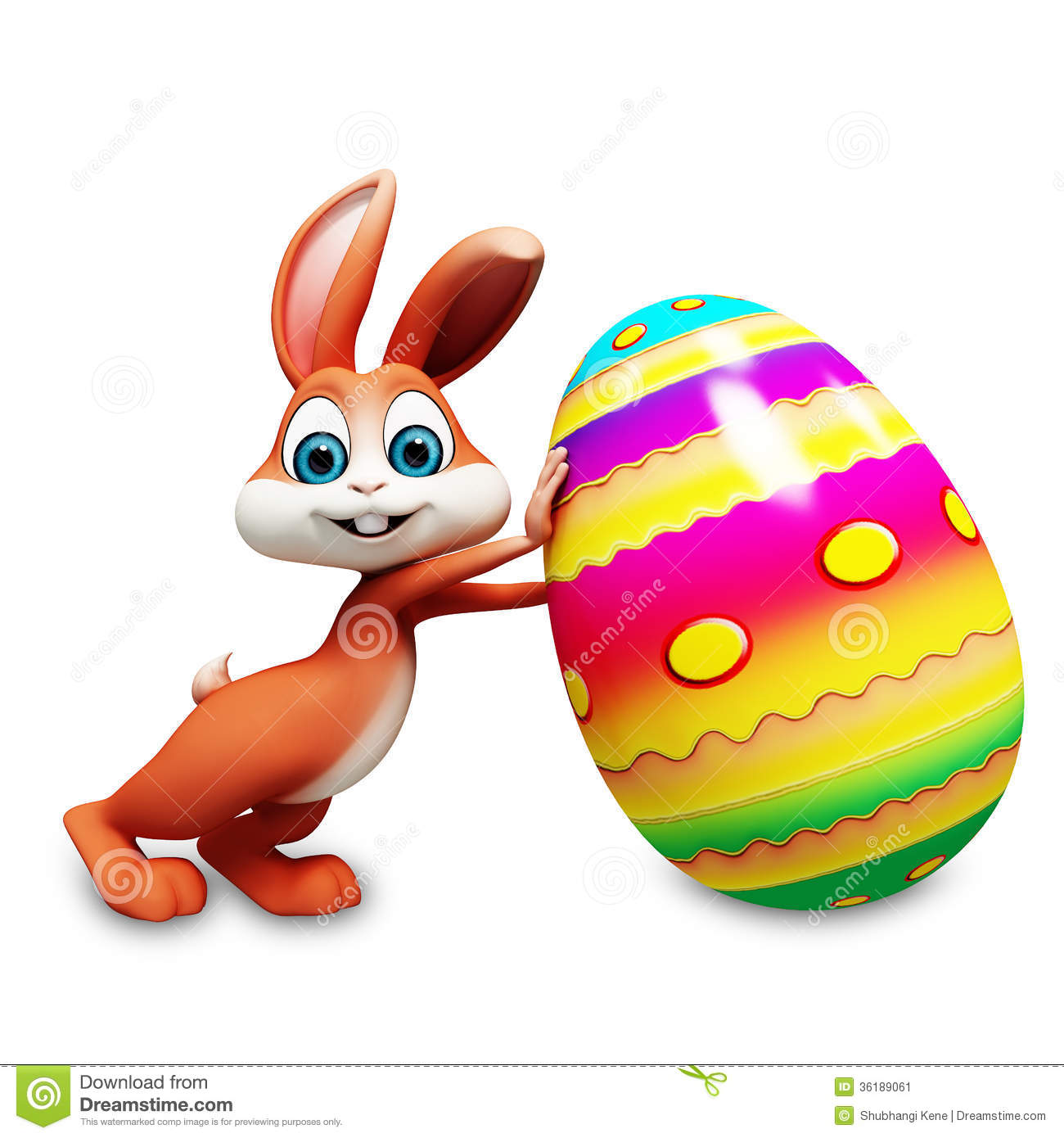 Easter Bunny With Big Eggs Stock Image - Image: 36189061