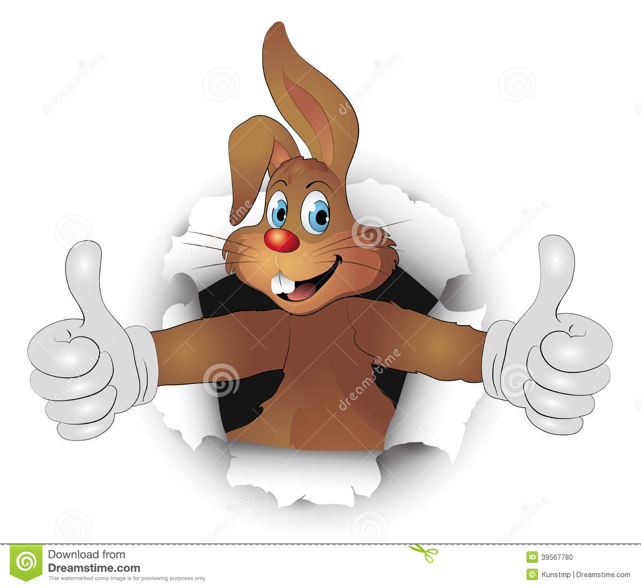 Easter Bunny In Breakthrough With Like Thumbs Stock Vector - Image ...