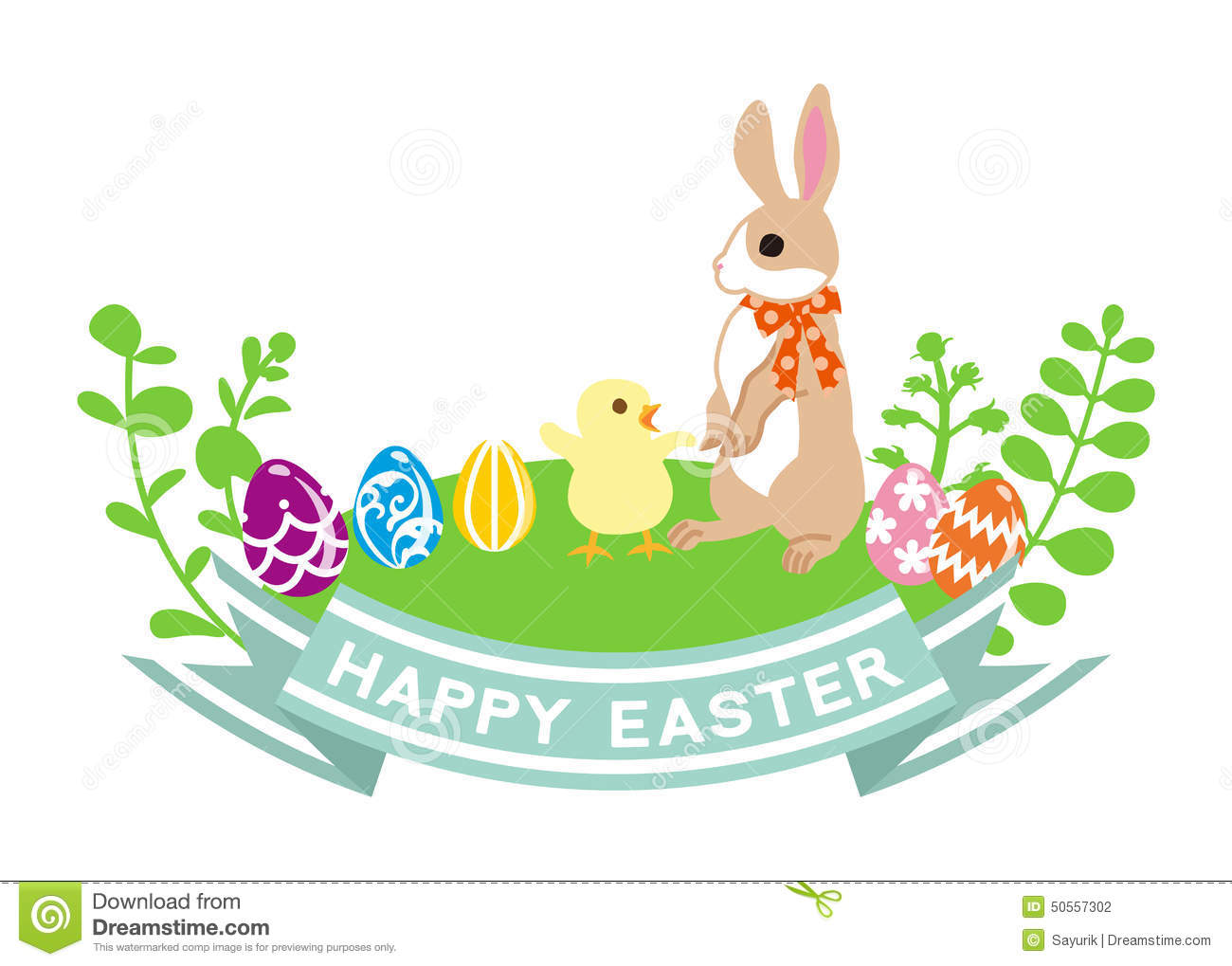 Easter Bunny And Chick-Clip Art Stock Vector - Image: 50557302