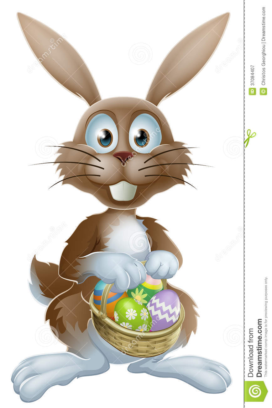 Easter Bunny With Chocolate Eggs Royalty Free Stock