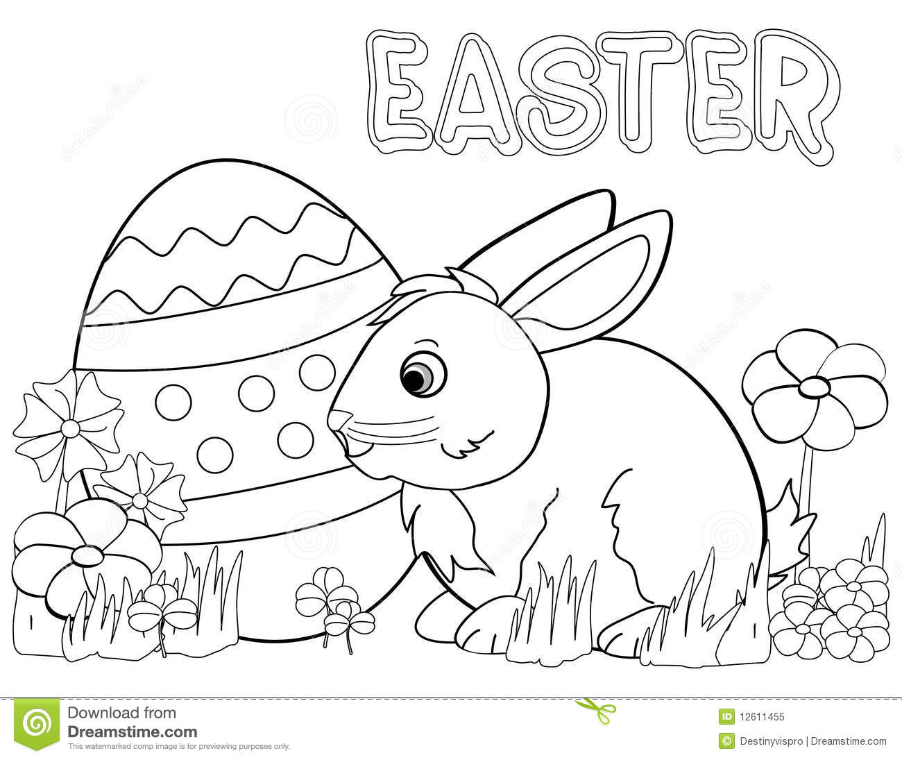 Easter Bunny Coloring Page Stock Illustration Illustration Of Child