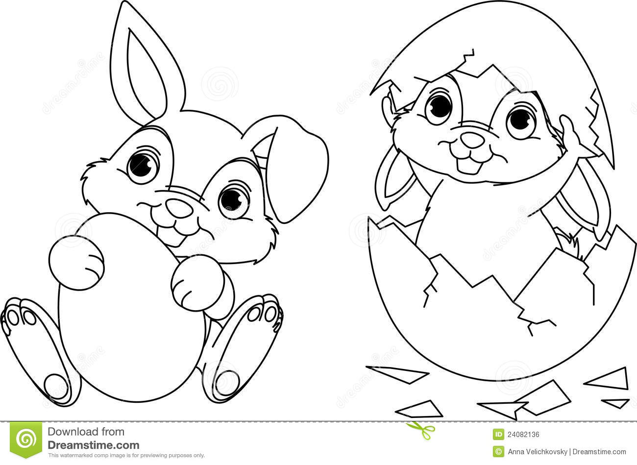 Easter Bunny Coloring Page Stock Vector Illustration Of Funny