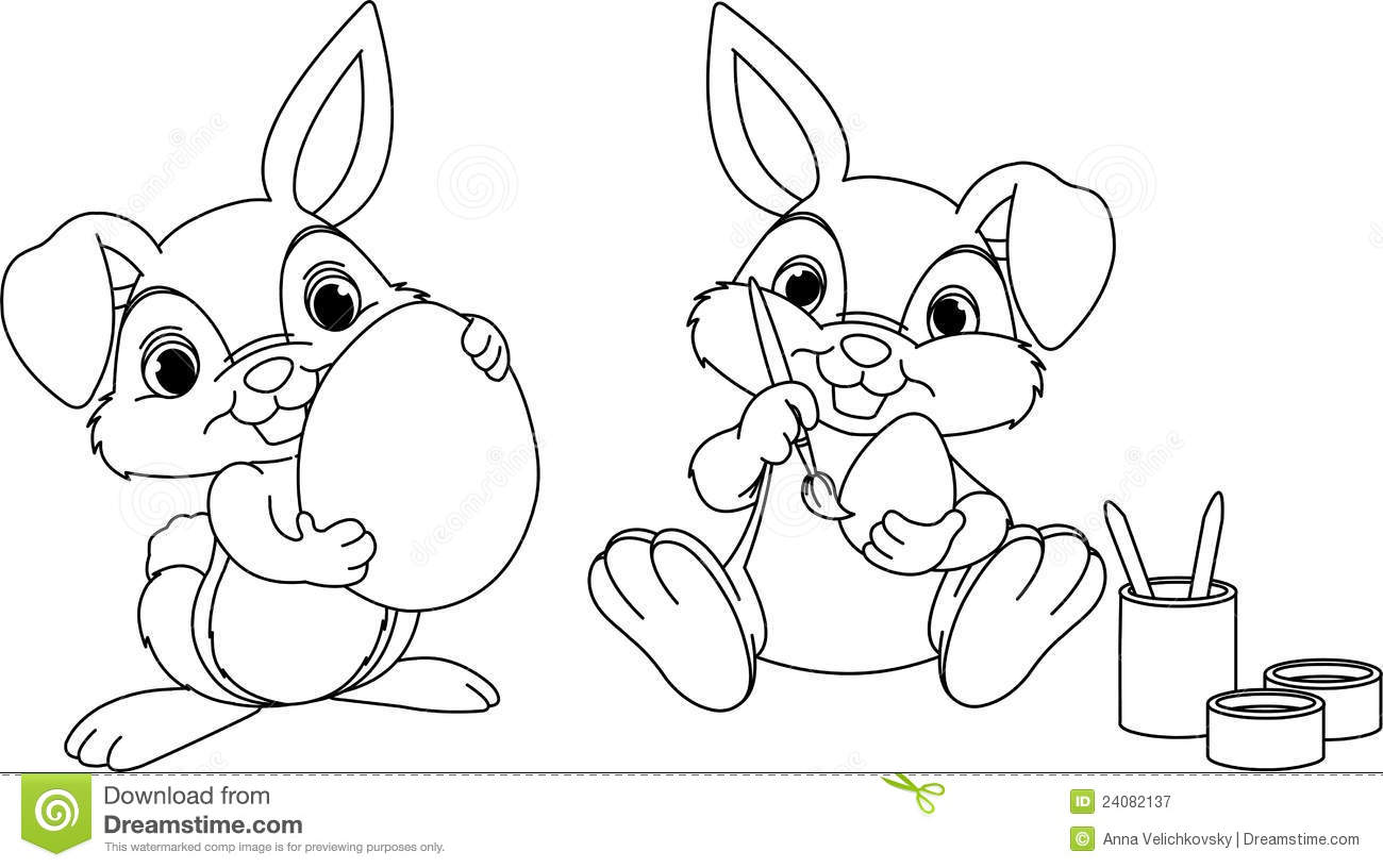 Easter Bunny Coloring Page Stock Vector Illustration Of Bunny