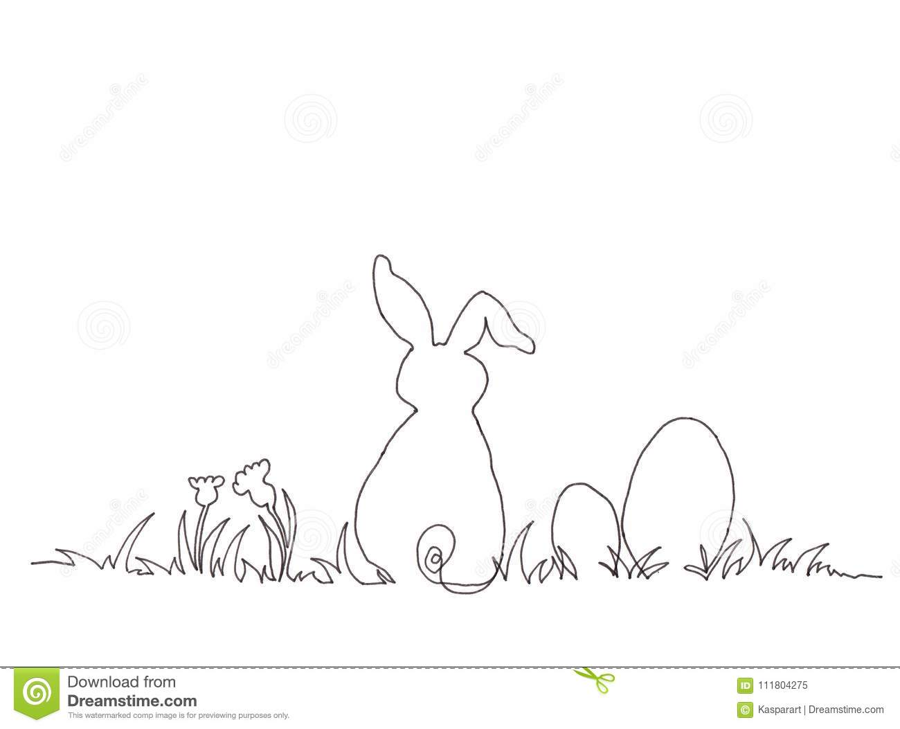Easter Bunny Continuous Line Drawing Black Ink On White Paper Stock