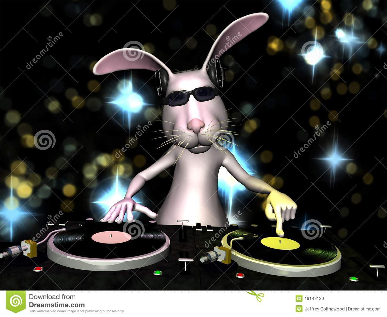 Easter Bunny Dj Stock Photo Image 19149130