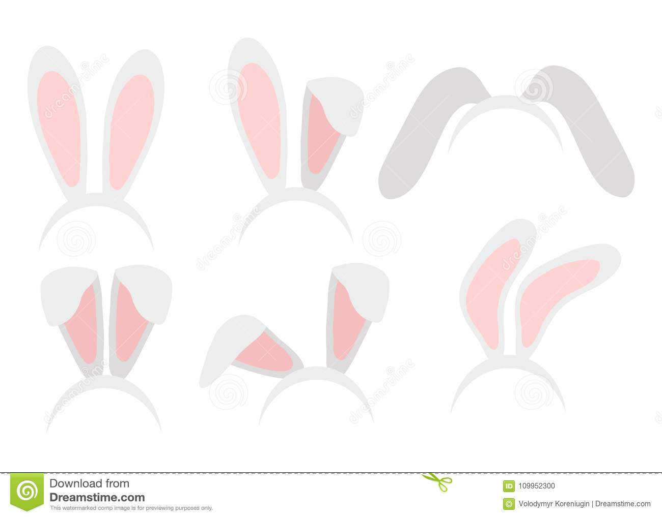Easter Bunny Ears Mask Hand Draw Vector Illustration Rabbit Ear
