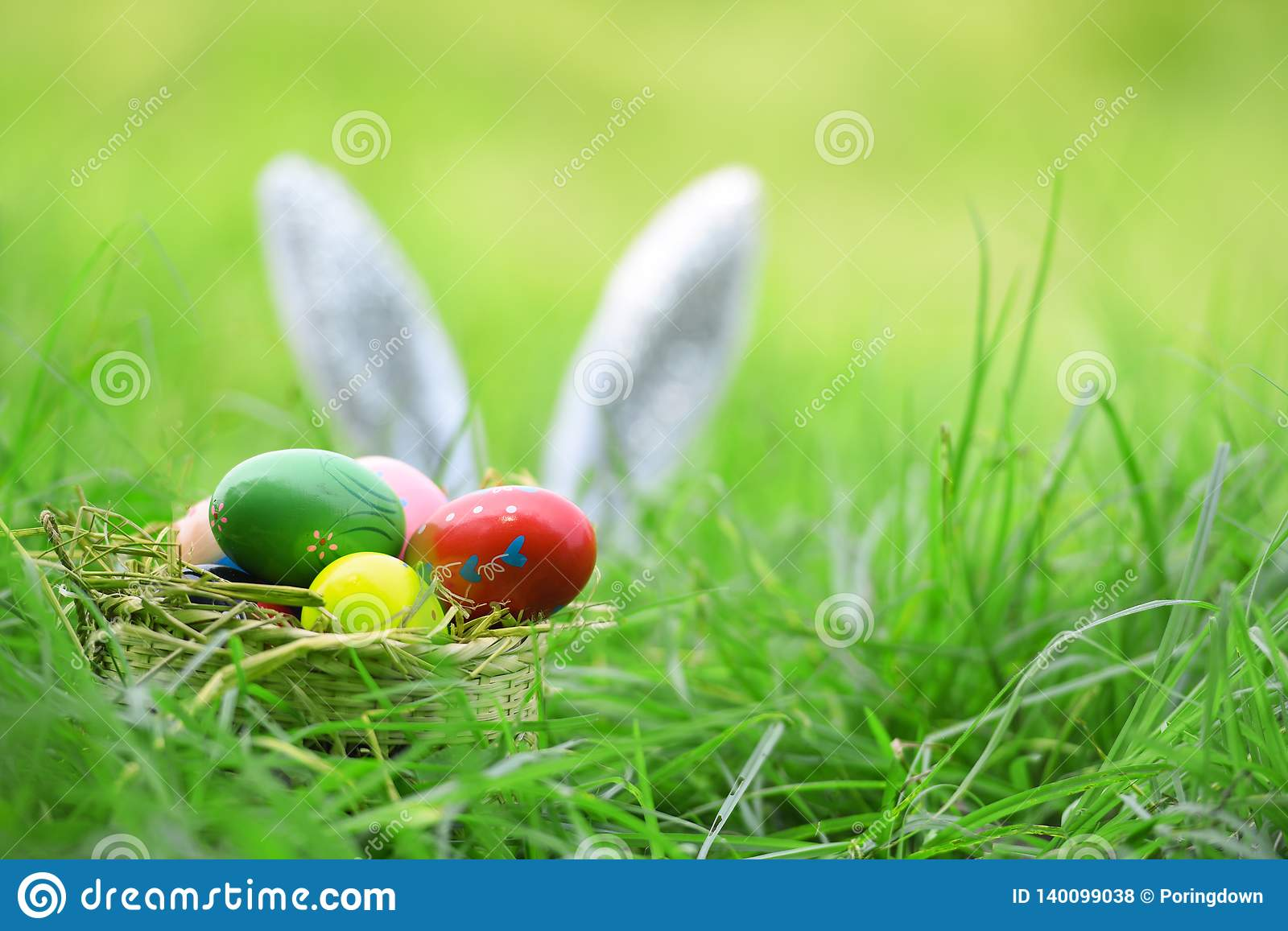Easter bunny and Easter eggs on green grass outdoor Colorful eggs in the nest basket and ear rabbit on field