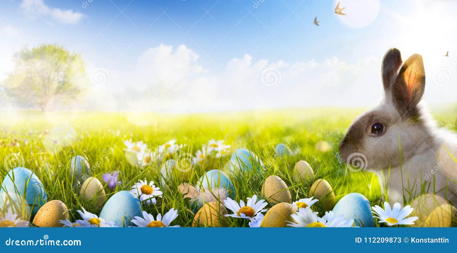 Art Easter bunny, Easter eggs and spring flower