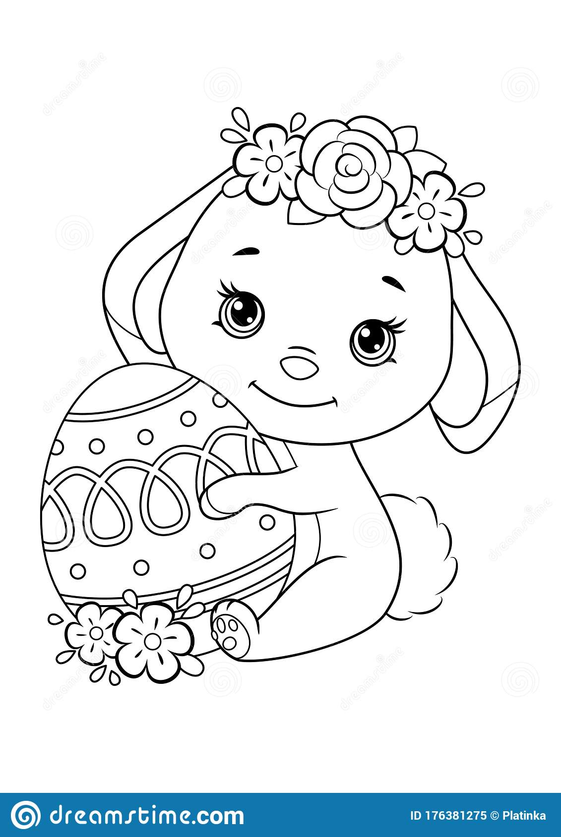 Easter Bunny With Egg Coloring Page Stock Vector Illustration Of Happiness Flower 176381275