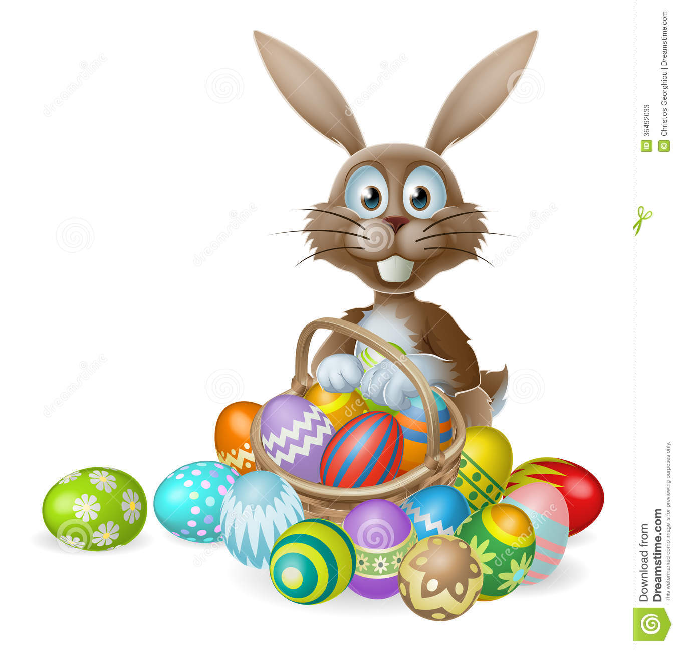Easter Bunny With Eggs Basket Stock Photos - Image: 36492033