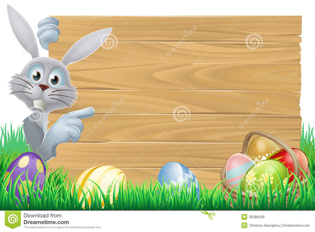 Easter Bunny And Eggs Basket Sign Stock Vector Image
