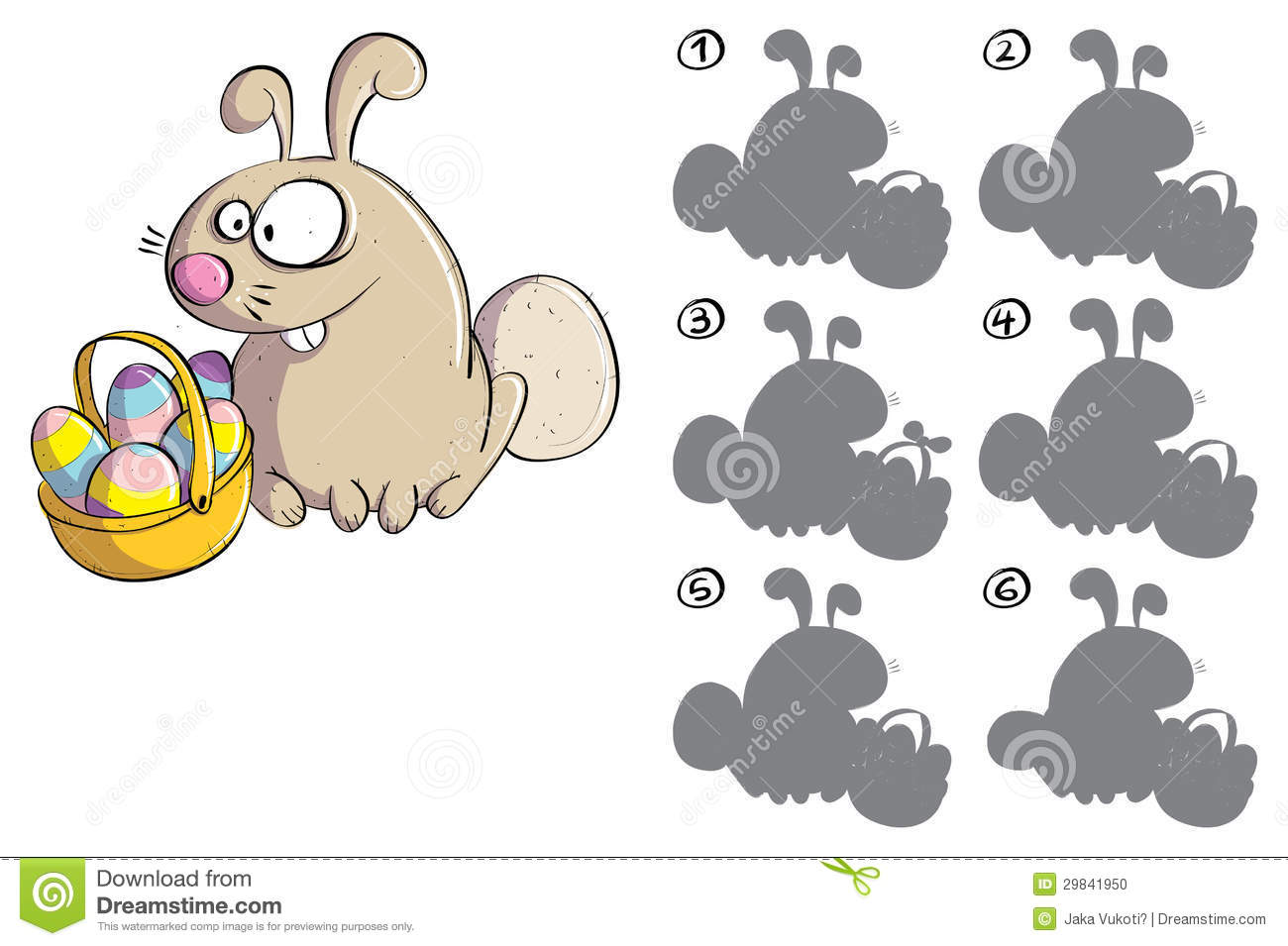 Easter Bunny With Eggs Mirror Image Visual Game Stock Vector